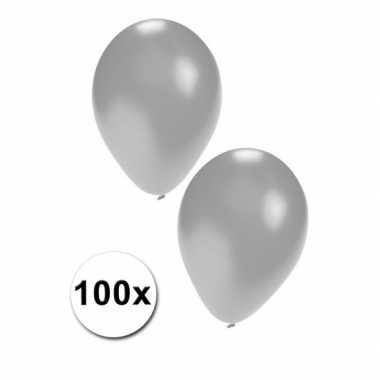 100 stuks zilveren feest ballonnen- feestje!
