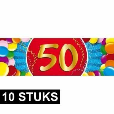10x 50 jaar sticker verjaardag/jubileum feest stickers- feestje!