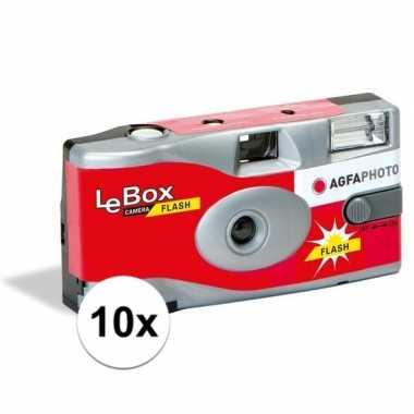 10x bruiloft/vrijgezellenfeest wegwerp camera 27 fotos met flits- fee
