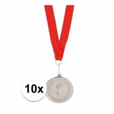 10x feest medailles zilver gekleurd met lint feestje