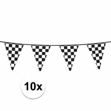 10x finish feestversiering vlaggenlijn 6 meter- feestje!