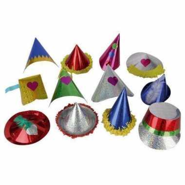 10x papieren glitter feesthoedjes voor kids- feestje!