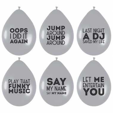 12x ballonnen zilver met muziek quotes feest ballonnen- feestje!
