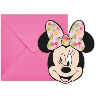 12x disney minnie mouse tropical themafeest uitnodigingen 7 cm- feest