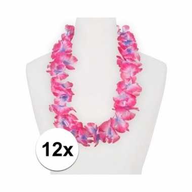 12x feestartikelen hawaii bloemen krans roze/paars- feestje!