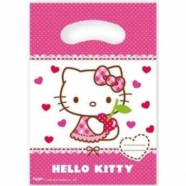 12x hello kitty themafeest feestzakjes 23 cm- feestje!