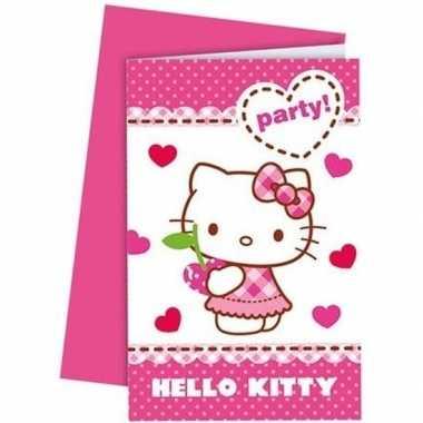 12x hello kitty themafeest uitnodigingen 14 cm- feestje!