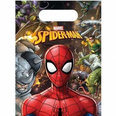 12x marvel spiderman themafeest uitdeelzakjes 16 x 23 cm- feestje!