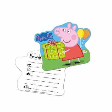 12x peppa pig themafeest uitnodingen/kaarten- feestje!