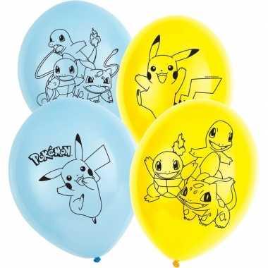 12x pokemon themafeest ballonnen 28 cm- feestje!