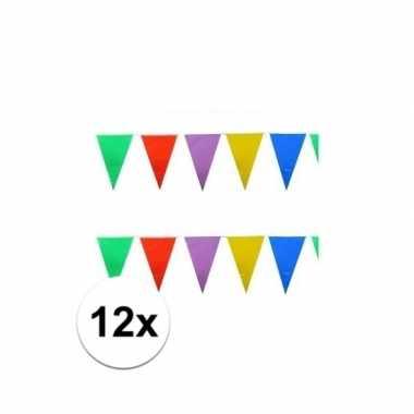 12x stuks feest vlaggenlijnen 10 meter- feestje!