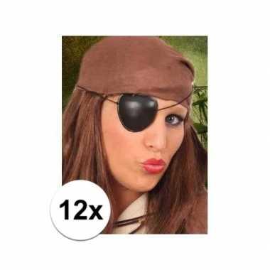12x stuks piraten feest ooglapjes- feestje!