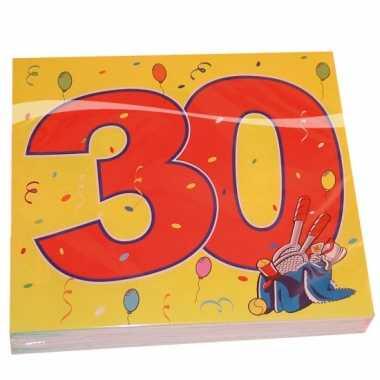 16x 30 jaar leeftijd themafeest servetten confetti 33 x 33 cm- feestj