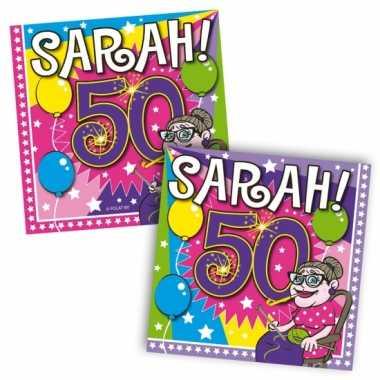 16x 50 jaar sarah leeftijd feest servetten 33 x 33 cm- feestje!
