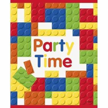 16x bouwstenen/blokken thema feestzakjes/uitdeelzakjes- feestje!