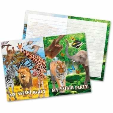 16x safari/jungle themafeest uitnodigingen 27 cm- feestje!