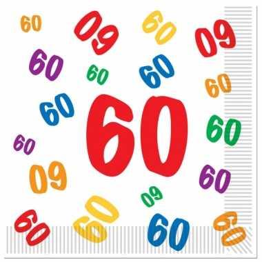 16x stuks 60 jaar thema leeftijd feest servetten 33 x 33 cm- feestje!