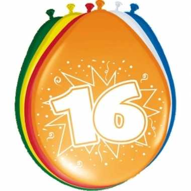 16x stuks ballonnen 16 jaar feestje- feestje!