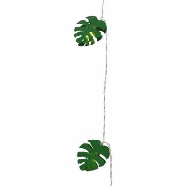 1x feestverlichting led groene bladeren 180 cm op batterijen- feestje