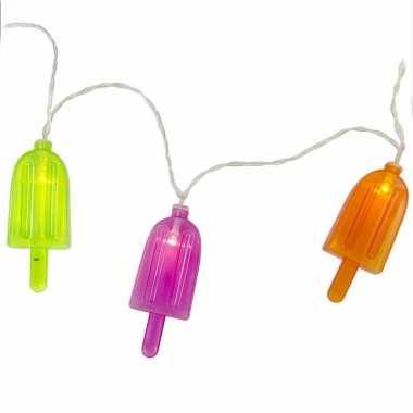 1x led lichtsnoeren met gekleurde ijsjes 1 meter binnen/buiten feestverlichting - feestje!