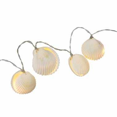 1x led lichtsnoeren met schelpen warm wit 1 meter binnen/buiten feestverlichting - feestje!