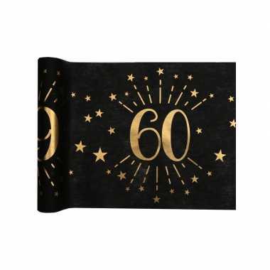 1x zwarte tafellopers 60 jaar verjaardag 500 cm op rol feestversiering- feestje!