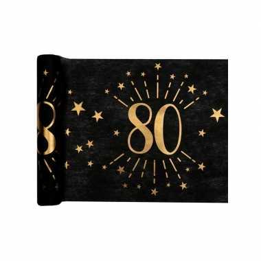 1x zwarte tafellopers 80 jaar verjaardag 500 cm op rol feestversiering- feestje!