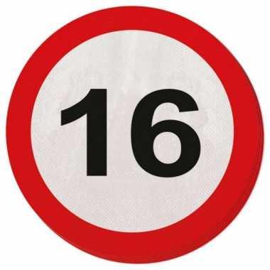 20x 16 jaar leeftijd themafeest servetten verkeersbord 33 cm ron- fee