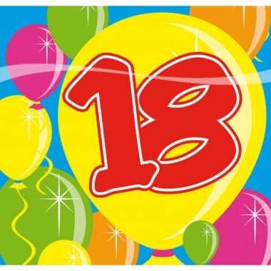 20x 18 jaar leeftijd themafeest servetten balloons 25 x 25 cm- feestj