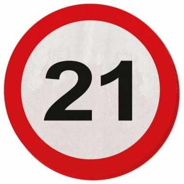 20x 21 jaar leeftijd themafeest servetten verkeersbord 33 cm ron- fee