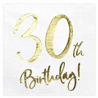 20x 30 jaar leeftijd versiering feest servetten 33 cm- feestje!