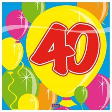 20x 40 jaar leeftijd themafeest servetten balloons 25 x 25 cm- feestj