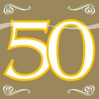 20x 50 jaar leeftijd themafeest servetten goud 33 x 33 cm papier feestje