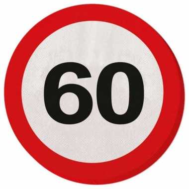 20x 60 jaar leeftijd themafeest servetten verkeersbord 33 cm ron- fee