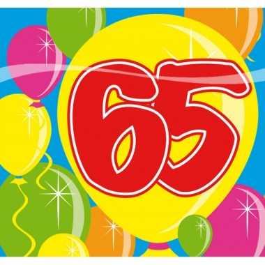 20x 65 jaar leeftijd themafeest servetten balloons 25 x 25 cm- feestj