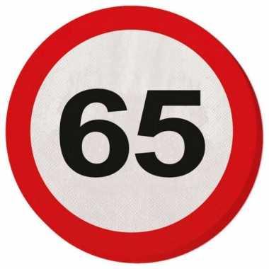 20x 65 jaar leeftijd themafeest servetten verkeersbord 33 cm ron- fee