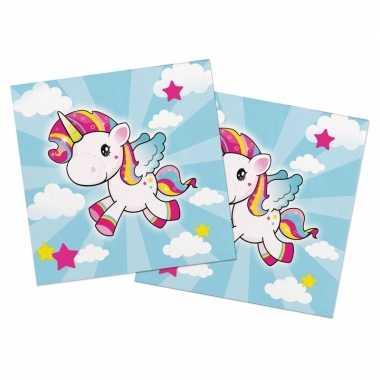 20x eenhoorn themafeest servetten gekleurd 33 x 33 cm papier- feestje