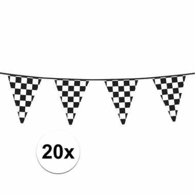 20x finish feestversiering vlaggenlijn 6 meter- feestje!