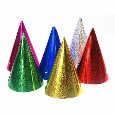 20x gekleurde papieren feesthoedjes holografisch - feestje!
