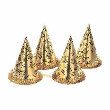 20x gouden feesthoedjes happy new year- feestje!