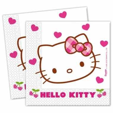 20x hello kitty themafeest servetjes 20 cm- feestje!