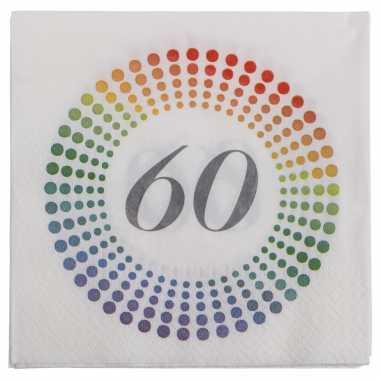 20x leeftijd 60 jaar themafeest/verjaardag servetten 33 x 33 cm confetti- feestje!