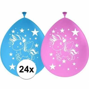 24x eenhoorn themafeest ballonnen 30 cm- feestje!