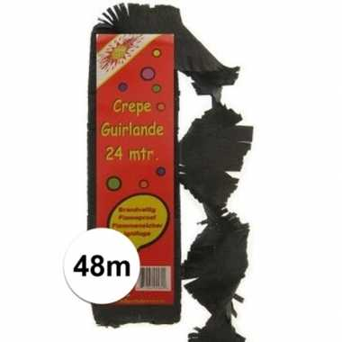 2x crepe feestslingers zwart 24 meter- feestje!