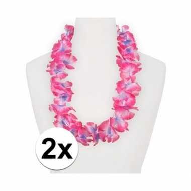 2x feestartikelen hawaii bloemen krans roze/paars- feestje!