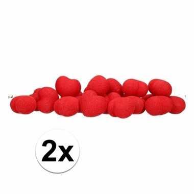 2x feestverlichting lichtsnoer met rode hartjes balletjes 378 cm- fee