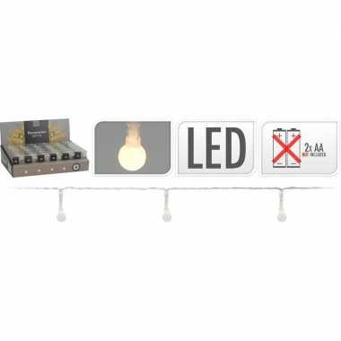 2x feestverlichting snoeren 20 bolletjes lampjes wit op batterij- feestje!