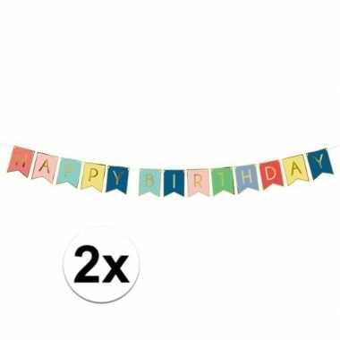 2x gekleurde diy feest slingers happy birthday 1,75 meter- feestje!