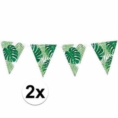 2x groene diy hawaii thema feest vlaggenlijnen 1,5 meter- feestje!