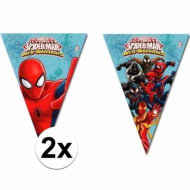 2x kinderfeestje spiderman warrior vlaggetjeslijnen- feestje!